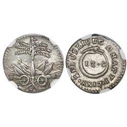 Haiti, 12 centimes, An 12 (1815), NGC AU 55.