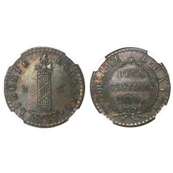Haiti, 2 centimes, 1830 / AN 27, NGC MS 62 BN, finest known in NGC census.