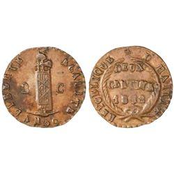 Haiti, 2 centimes, 1842 / AN 39, NGC AU 58 BN.