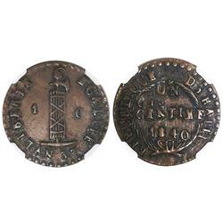 Haiti, 1 centime, 1840 / AN 37, NGC XF 45 BN.