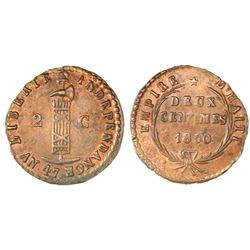 Haiti, 2 centimes, 1850 / AN 47, NGC MS 63 BN, finest known.