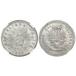 Haiti, copper-nickel 5 centimes, 1889, NGC MS 63.