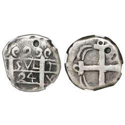 "Comayagua, Honduras, provisional ""imitation cob"" 2 reales, 1824-(C)Y, very rare, NGC Fine details /"