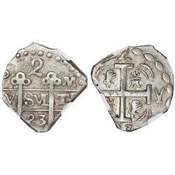 "Tegucigalpa, Honduras, provisional ""imitation cob"" 2 reales, 1823-PM(PY), two-digit date, trefoil ty"