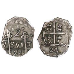 "Tegucigalpa, Honduras, provisional ""imitation cob"" 2 reales, 1824-(P)M(PY), two-digit date, trefoil"