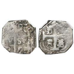"Tegucigalpa, Honduras, provisional ""imitation cob"" 2 reales, 1824-(PM)PY, two-digit date, trefoil ty"