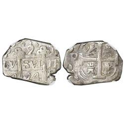 "Tegucigalpa, Honduras, provisional ""imitation cob"" 2 reales, 1824-PMPY, two-digit date, trefoil type"