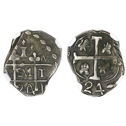 "Tegucigalpa, Honduras, provisional ""imitation cob"" 1 real, 1824-PM(T)L, two-digit date, trefoil type"