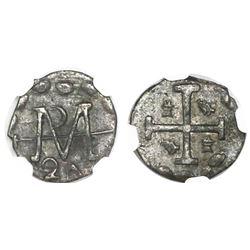 "Tegucigalpa, Honduras, provisional ""imitation cob"" 1/2 real, 1824, two-digit date, rare, NGC AU 50,"