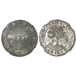 Tegucigalpa, Honduras, low-silver 2 reales (provisional), 1845G, NGC XF 45, ex-Richard Stuart (state