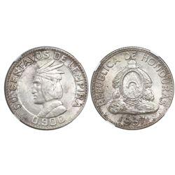 Honduras, 50 centavos de Lempira, 1937, NGC MS 65, ex-Richard Stuart (stated on label).