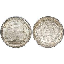 Honduras, 25 centavos, 1901/801, double die obverse, fineness 0.835 / 0.900, NGC MS 64, ex-Richard S
