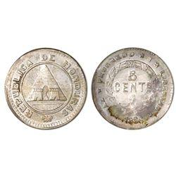 Honduras, 5 centavos, 1896/86, NGC MS 63, ex-Whittier (stated on label).