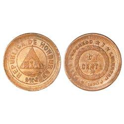 Honduras, bronze 1 centavo, 1890, denomination UN/10, no wreath on obverse, NGC MS 63 BN, finest kno