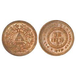 """Honduras, bronze 1 centavo, 1893/83, denomination UN/10, wreath on obverse, """"REPLBLICA"""" error, NGC M"""