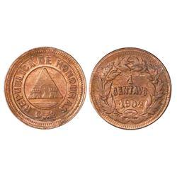 Honduras, bronze 1 centavo, 1902, large 0, NGC MS 64 RB, ex-Whittier (stated on label).