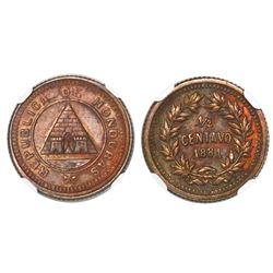 Honduras, bronze 1/2 centavo, 1881, rare, NGC MS 63 BN, finest known in NGC census, ex-Whittier (sta