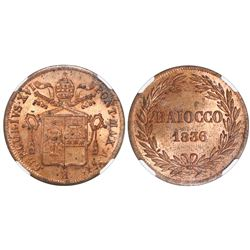 Papal States, Italian States, copper baiocco, Gregory XVI, 1836-R, anno VI, NGC MS 64 RB.