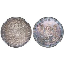 Mexico City, Mexico, pillar 8 reales, Ferdinand VI, 1757MM, NGC XF 40, Bevill Plate.