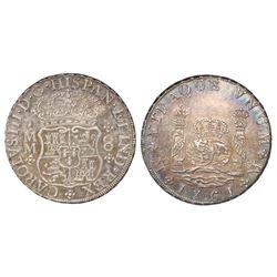 Mexico City, Mexico, pillar 8 reales, Charles III, 1761MM, cross below I (rare).