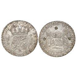 Mexico City, Mexico, pillar 8 reales, Charles III, 1766MF, with three Indonesian countermarks (chopm