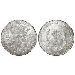 Mexico City, Mexico, pillar 8 reales, Charles III, 1767MF, NGC MS 60.