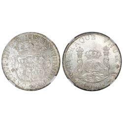 Mexico City, Mexico, pillar 8 reales, Charles III, 1768MF, NGC MS 61.
