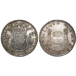 Mexico City, Mexico, pillar 8 reales, Charles III, 1770MF, with chopmark as from circulation in Asia