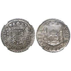 Mexico City, Mexico, pillar 2 reales, Ferdinand VI, 1748M, NGC XF 45.