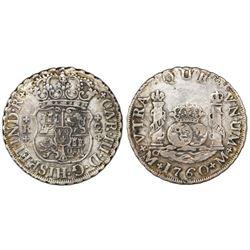 Mexico City, Mexico, pillar 2 reales, Charles III, 1760M.