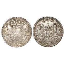 Mexico City, Mexico, pillar 2 reales, Charles III, 1763/2M.