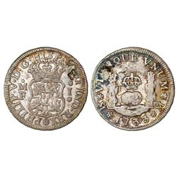 Mexico City, Mexico, pillar 1 real, Philip V, 1733/2MF, mintmark oM, very rare.