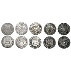 Lot of five Mexico City, Mexico, pillar 1R, Philip V, assayer M, dates as follows: 1742, 1743, 1744,