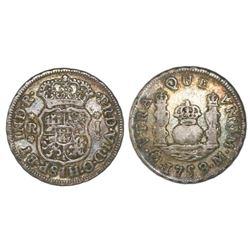 Mexico City, Mexico, pillar 1 real, Ferdinand VI, 1758/7M, crowns alike.
