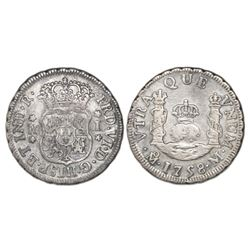 Mexico City, Mexico, pillar 1 real, Ferdinand VI, 1758M, dissimilar crowns.