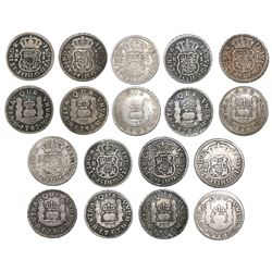 Lot of nine Mexico City, Mexico, pillar 1R, Ferdinand VI, assayer M, dates as follows: 1747, 1748, 1