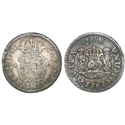 Mexico City, Mexico, pillar 1/2 real, Charles III, 1767M.