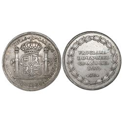 Mexico City, Mexico, 8 reales proclamation medal, Charles IV, 1789.