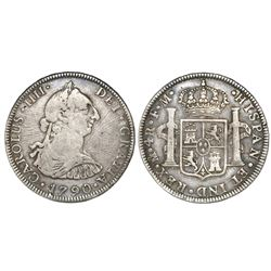 Mexico City, Mexico, bust 4 reales, Charles IV transitional (bust of Charles III, ordinal IIII), 179
