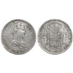 Guadalajara, Mexico, bust 8 reales, Ferdinand VII, 1821FS, one fleur above two (rare), ex-Leunda.