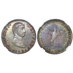 Mexico City, Mexico, 8 reales, 1822JM, Iturbide, early eagle, NGC AU 53, Bevill Plate.