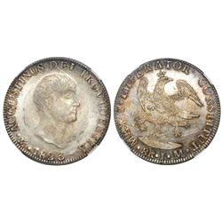Mexico City, Mexico, 8 reales, 1823JM, Iturbide, short uneven truncation, 8R JM below eagle, NGC MS