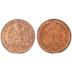 Durango, Mexico, copper 1/4 real, 1872, NGC MS 63 BN.