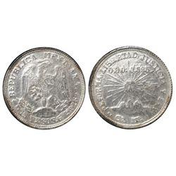 Guerrero (Campo Morado), Mexico, silver-and-gold 2 pesos, 1915-CoMo, NGC AU 58.