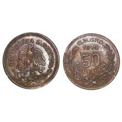 Guerrero (Campo Morado), Mexico, copper 50 centavos, 1915-CM-GRo, NGC MS 61 BN.