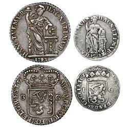 Lot of two Dutch silver coins: 3 gulden, 1793, Westfriesland mint; 1 gulden, 1712, Gelderland mint.