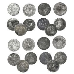 "Lot of ten Netherlands East India Company 6 stuivers ""ship shillings,"" various dates (late 1700s), f"