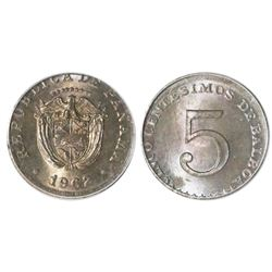 Panama, copper-nickel 5 centesimos, 1962, struck on a Great Britain sixpence planchet, ANACS MS 65,