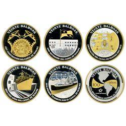 Lot of six Panama (struck at the Royal Canadian Mint), selectively gilt proof 20 balboas, 2016, Pana