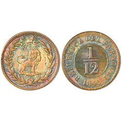 Asuncion, Paraguay, copper 1/12 real, 1845, NGC MS 63 BN.